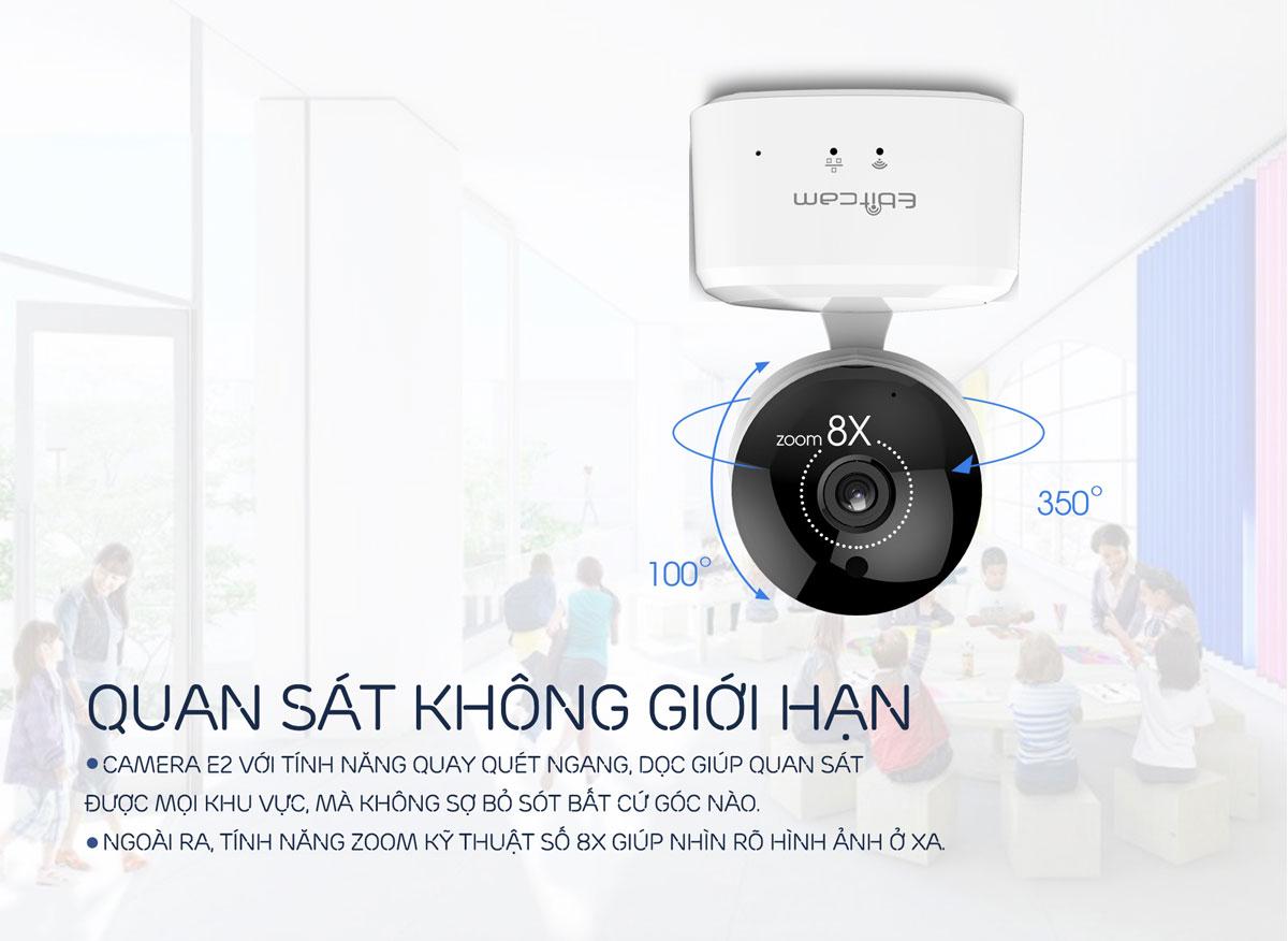 camera ip wifi ebitcam e2 1080P 2mp xoay 360 độ