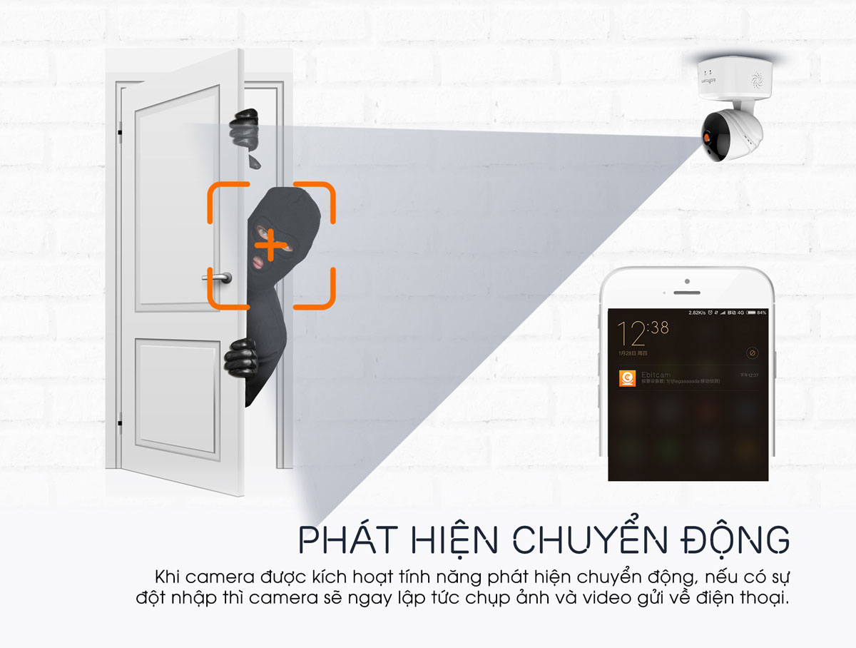 camera ip wifi ebitcam e2 1080P 2mp báo động