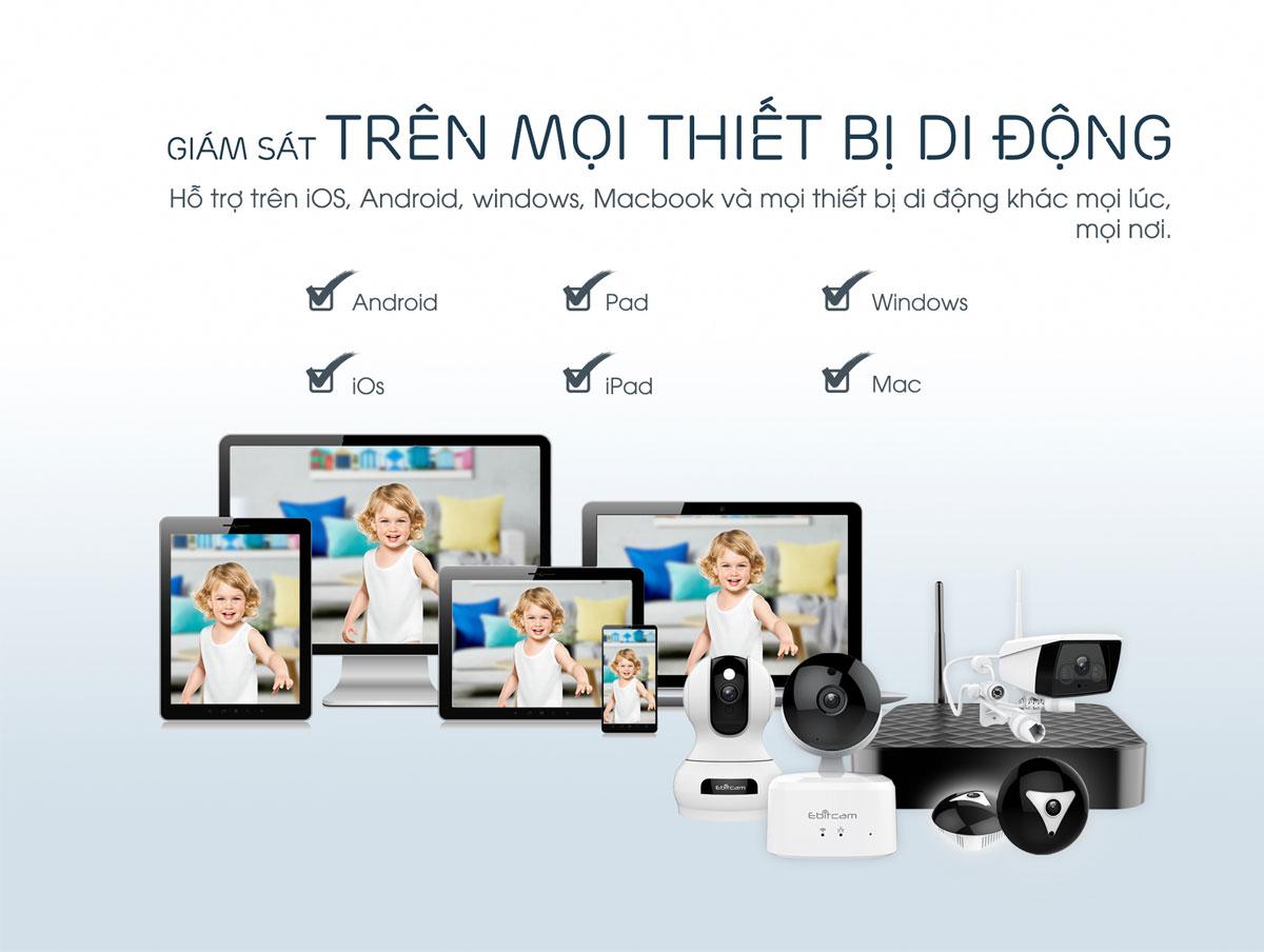 camera ip wifi ebitcam e2 1080P 2mp xem trên nhiều thiết bị